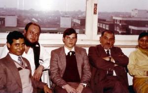 Prof. Hottes, Rudolf, Herman Fringe and K.N. Singh in Hostel at Marksstrasse, Germany